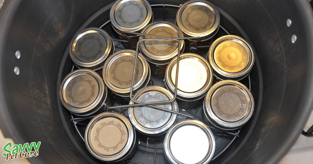 Jars in canner - How to Can Raw Pet Food