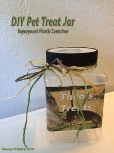 DIY Pet Treat Jar -- Repurposed Plastic Container