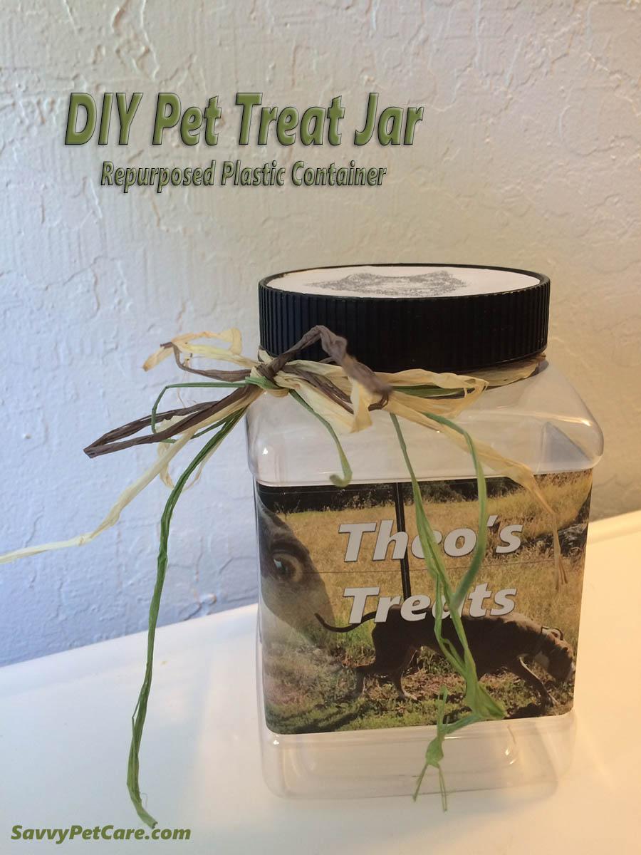 Diy Pet Treat Jar Repurposed Plastic Container